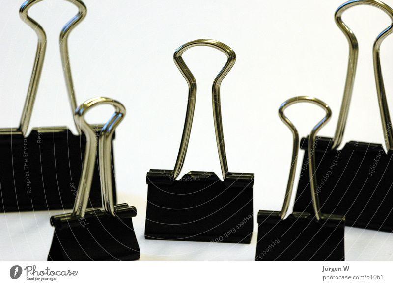 Meeting schwarz Klammer Draht 5 binder clips Metall black wire five