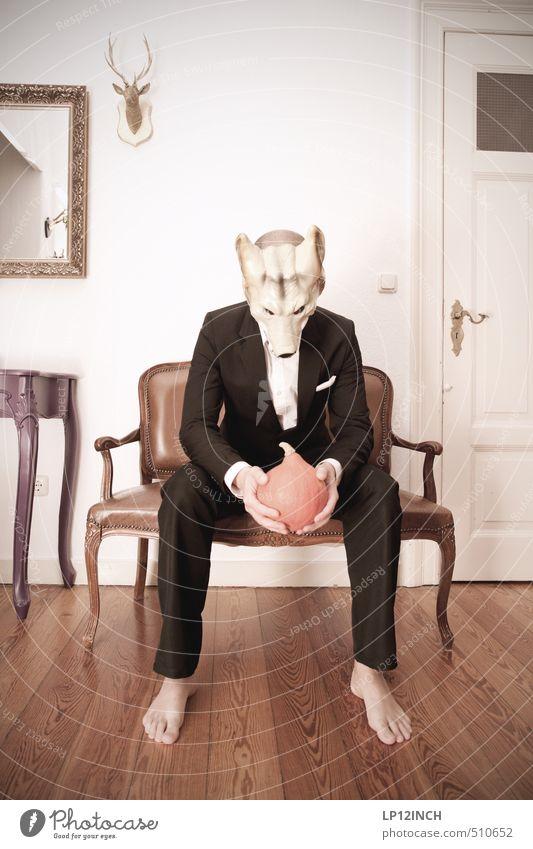 HOKKAIDO WOLF. Mensch Jugendliche Mann Tier Junger Mann Erwachsene lustig träumen Business Angst maskulin Häusliches Leben sitzen verrückt bedrohlich retro