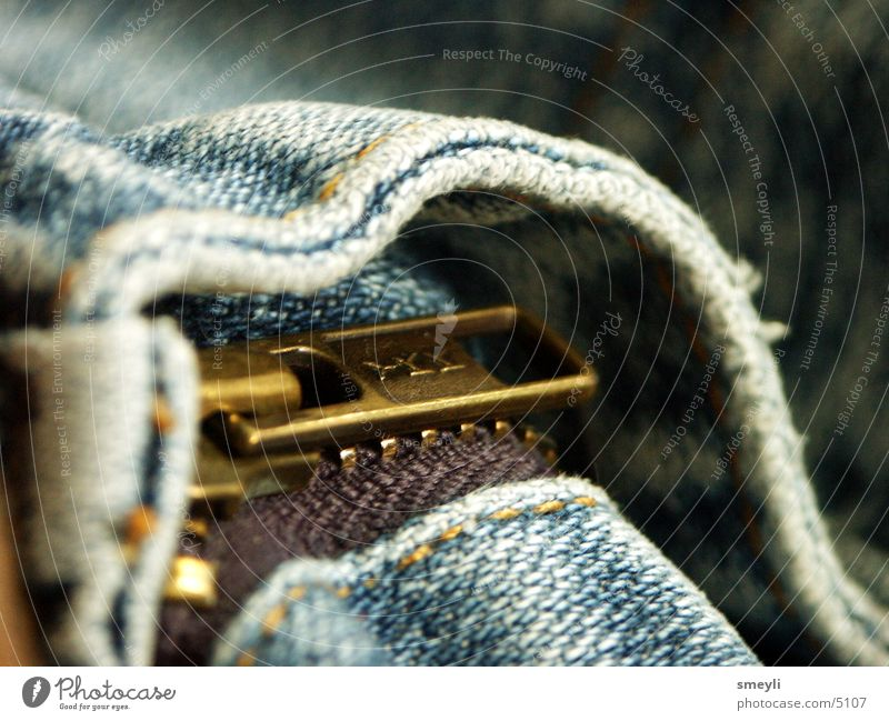 der eingang zum löwen blau Jeanshose Hose Stoff Naht Reißverschluss Fototechnik