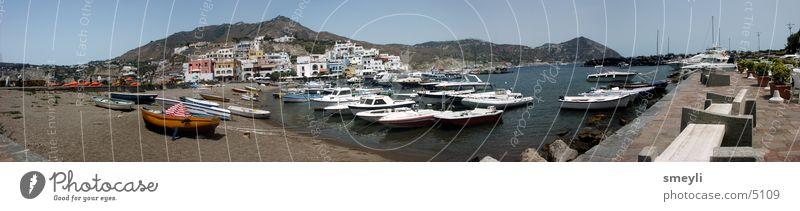 sant angelo - fischerhafen Wasser Himmel Sonne Meer Strand Ferien & Urlaub & Reisen Wasserfahrzeug groß Italien Hafen Panorama (Bildformat) Fischer Neapel