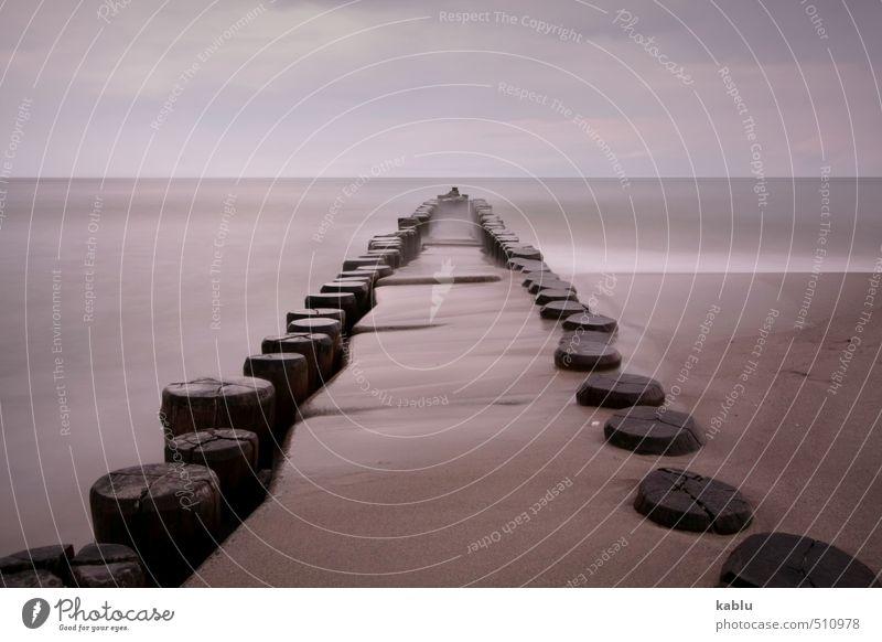 Buhnen Natur Landschaft Urelemente Wasser Himmel Küste Strand Ostsee Meer Unendlichkeit einzigartig Ahrenshoop Meerwasser Horizont Langzeitbelichtung Farbfoto