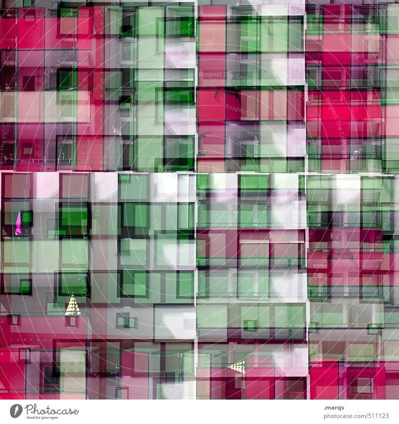 Sonnenschirm Stil Design Häusliches Leben Bauwerk Gebäude Architektur Mehrfamilienhaus Fassade Fenster alt außergewöhnlich trendy modern verrückt grün rosa