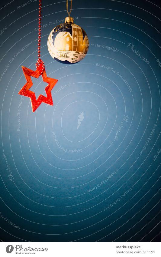 weihnachts stern christbaumkugel Stadt Weihnachten & Advent blau rot Haus Innenarchitektur Stil Lifestyle Feste & Feiern Wohnung Häusliches Leben leuchten