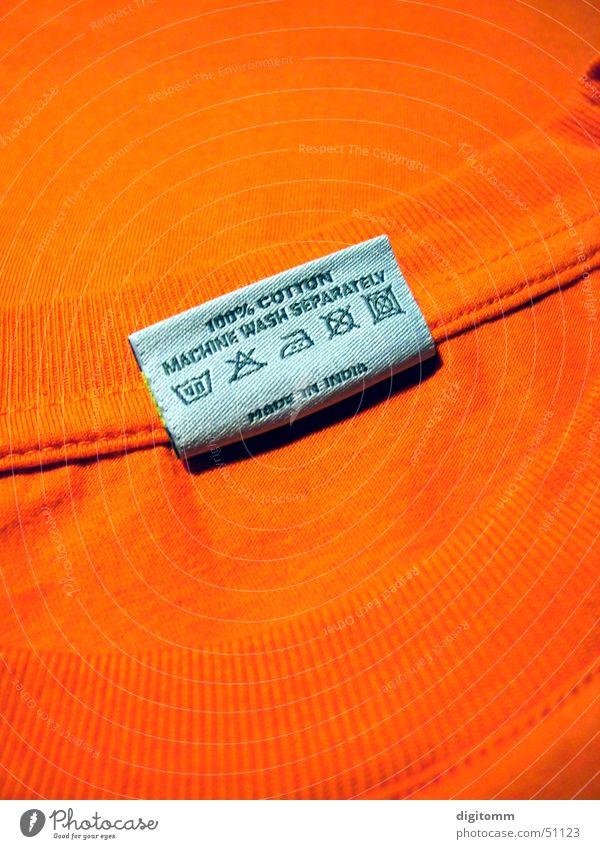Right-Wash orange Bekleidung Sicherheit T-Shirt Reinigen Stoff Hinweisschild Zettel Symbole & Metaphern bleich Wäsche waschen Verbote Haushalt Waschmaschine