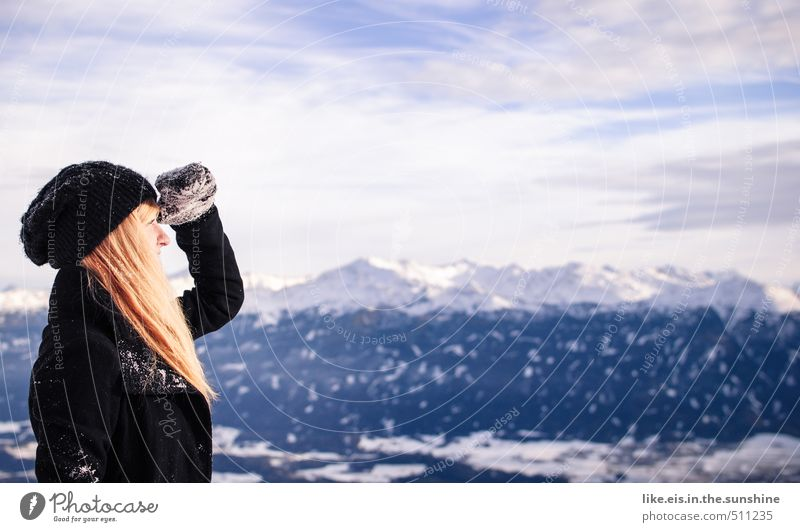 uj da kommt schnee! Ferien & Urlaub & Reisen Ausflug Abenteuer Ferne Freiheit Sightseeing Winter Schnee Winterurlaub feminin Junge Frau Jugendliche Erwachsene