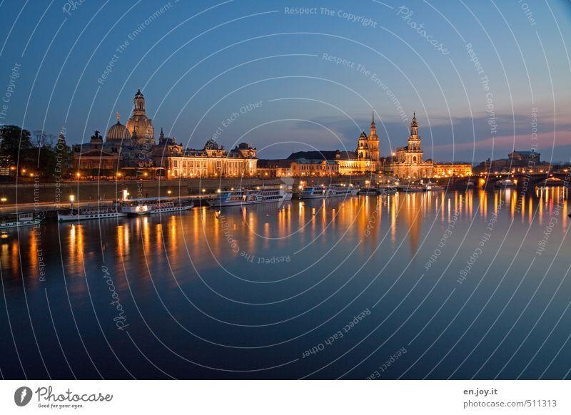 Lichtgestalten Himmel blau Stadt Wasser Deutschland gold leuchten Europa Ausflug Kirche Turm Fluss Kultur Flussufer Skyline Stadtzentrum