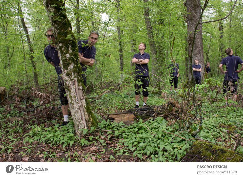 Sieben ruhig maskulin Menschengruppe Kunst Kunstwerk Natur Landschaft Baum Wald entdecken Kommunizieren Spielen Fröhlichkeit Zusammensein verrückt viele grün