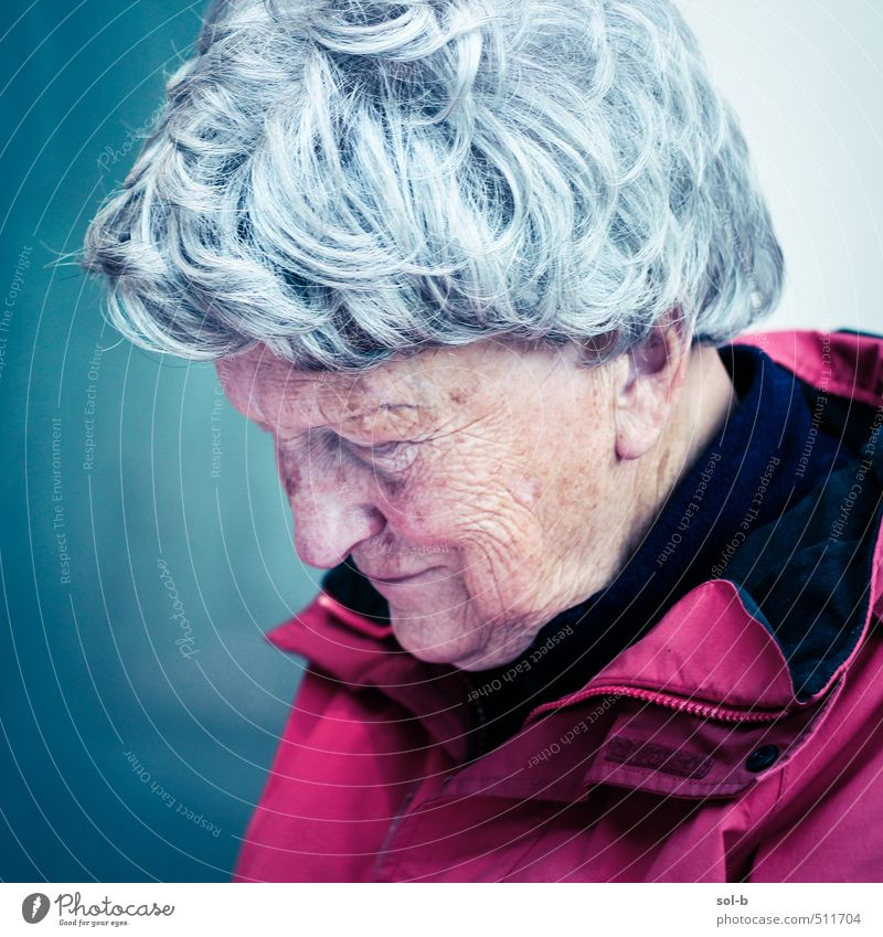 Mensch Frau alt Erholung kalt Leben Traurigkeit feminin Senior Denken Zufriedenheit 60 und älter Trauer Weiblicher Senior Hautfalten Konzentration