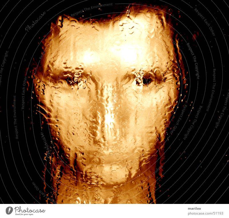The face Frau Wasser Gesicht Gefühle Angst Wassertropfen nass Spiegelbild grauenvoll