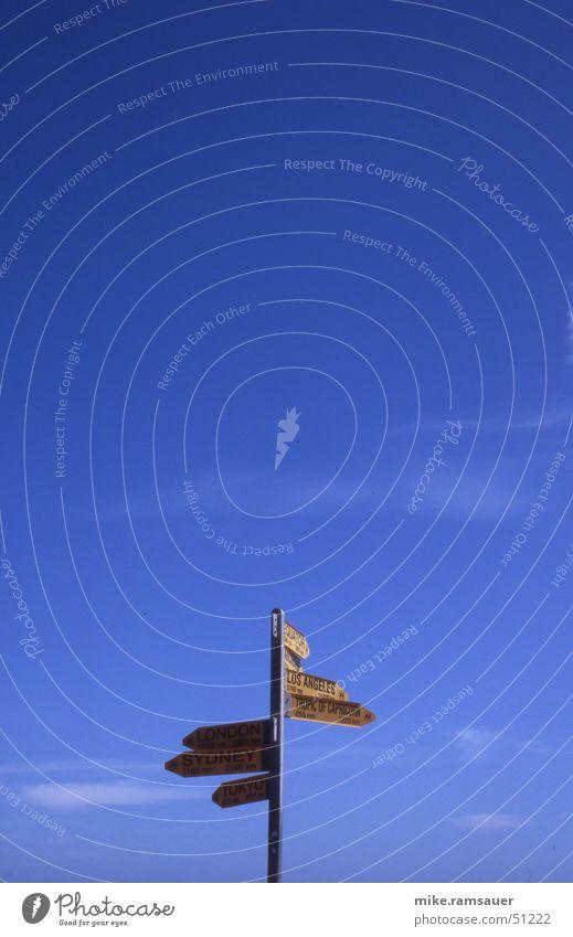 wohin nur, wohin blau gelb Schilder & Markierungen Richtung London Wegweiser Neuseeland Sydney