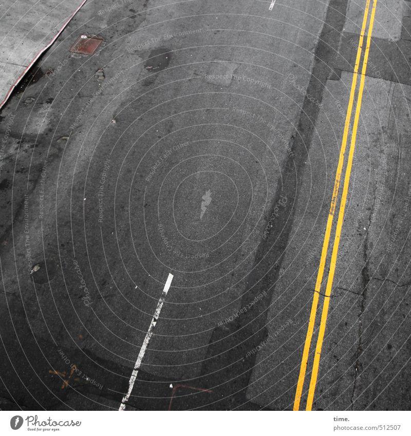 Revisit | 6 alt Stadt Leben Straße Wege & Pfade Verkehr Ordnung Vergänglichkeit Wandel & Veränderung Fußweg historisch Güterverkehr & Logistik Asphalt Bürgersteig Verfall Verkehrswege