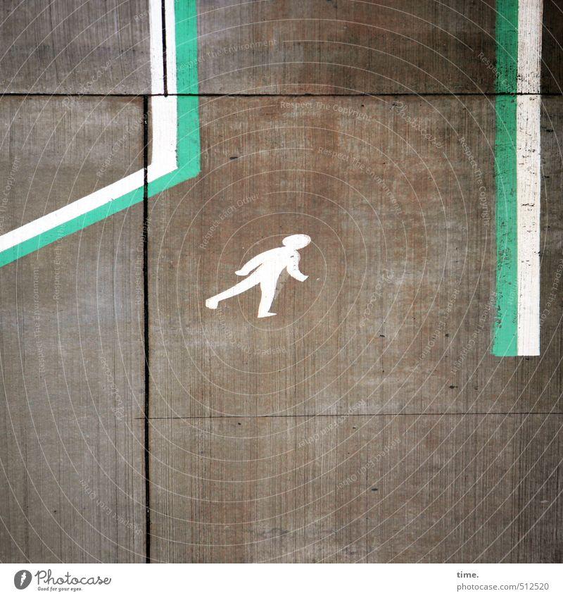 Einzelgänger_in   unverdrossen Arbeitsplatz Verkehr Fußgänger Wege & Pfade Rollfeld Betonplatte Betonboden Luftverkehr Flughafen Flugplatz Zeichen