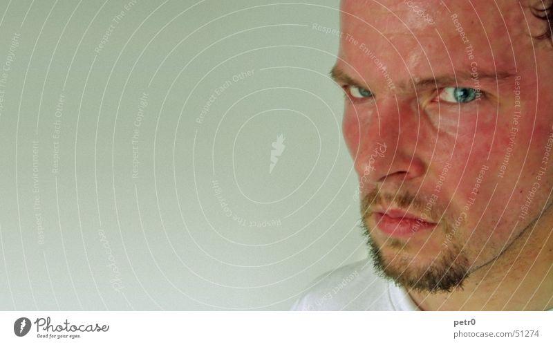 ... kein Wort mehr, Mann, ...  KEIN WORT ... Mann blau Gesicht Auge maskulin Nase Wut Bart böse Aggression Nervosität ernst Stirn Schweiß streng