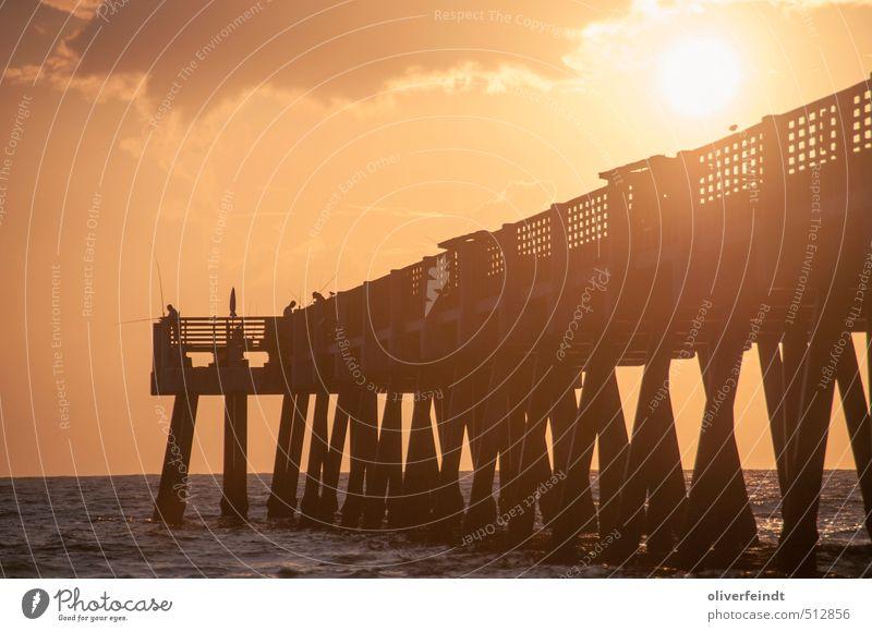 Sonnenaufgang Angeln Ferien & Urlaub & Reisen Sommer Sommerurlaub Strand Meer Natur Himmel Sonnenuntergang Sonnenlicht Schönes Wetter Wellen Küste Atlantik