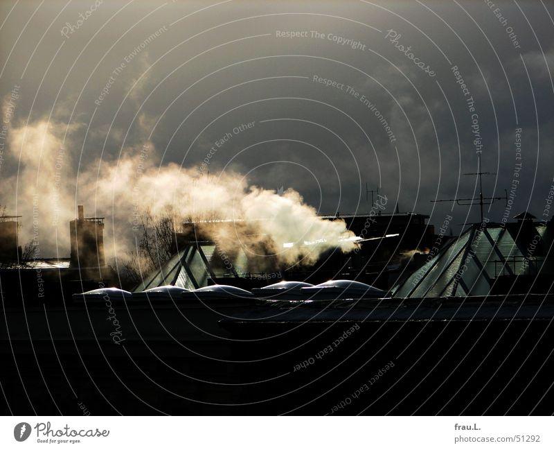 heizen Rauch Dach Oberlicht Sonnenlicht Gegenlicht Winter kalt frieren Physik Regenwolken Hamburg Himmel gasheizung Wasserdampf Schornstein Heizkörper Wärme
