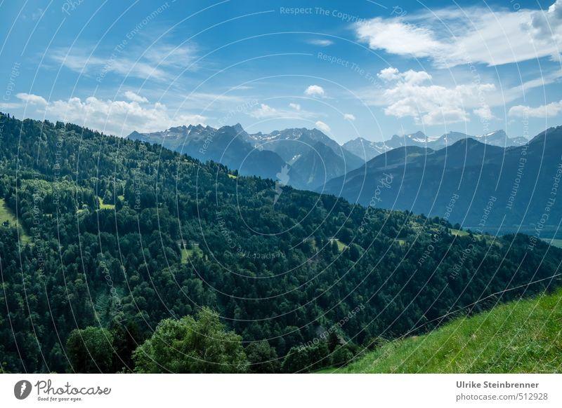 Alpine Momente 1 Himmel Natur blau grün Pflanze Sommer Baum Einsamkeit Erholung Landschaft ruhig Wolken Wald Umwelt Berge u. Gebirge Wiese