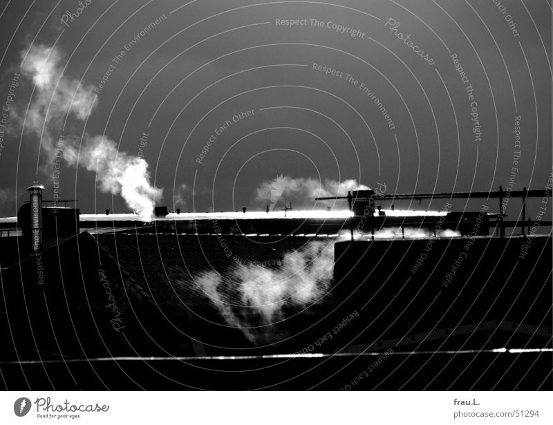 heizen in schwarz-weiß Rauch Dach Oberlicht Sonnenlicht Gegenlicht Regenwolken Winter kalt frieren Physik Hamburg Wasserdampf Schornstein Himmel Heizkörper