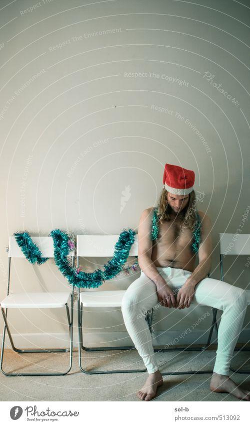 Mensch Jugendliche nackt Weihnachten & Advent Erholung Einsamkeit Junger Mann 18-30 Jahre Erwachsene lustig Feste & Feiern Party maskulin Raum Lifestyle