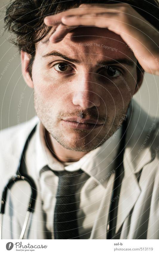 Mensch Jugendliche Junger Mann 18-30 Jahre Erwachsene Gesundheit Arbeit & Erwerbstätigkeit maskulin Gesundheitswesen beobachten Beruf Krankheit Information Müdigkeit Arzt Stress