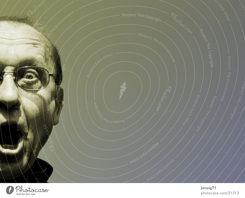 freak. Mensch Mann Gesicht sprechen Kopf schreien Porträt