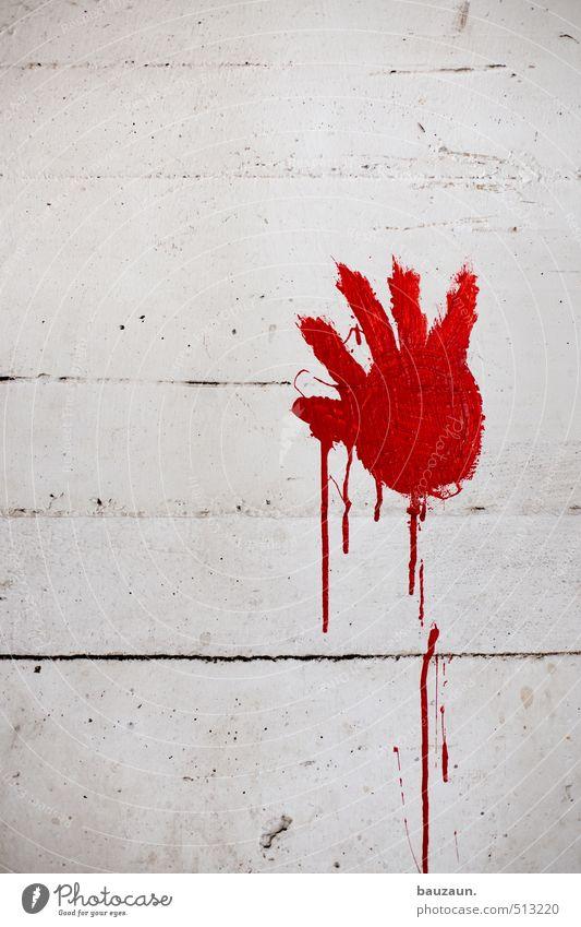 ut ruhrgebiet | touch. Entertainment Kindergarten Hand Finger Kunst Industrieanlage Fabrik Ruine Mauer Wand Fassade Beton Graffiti rot weiß Mut Begierde Lust