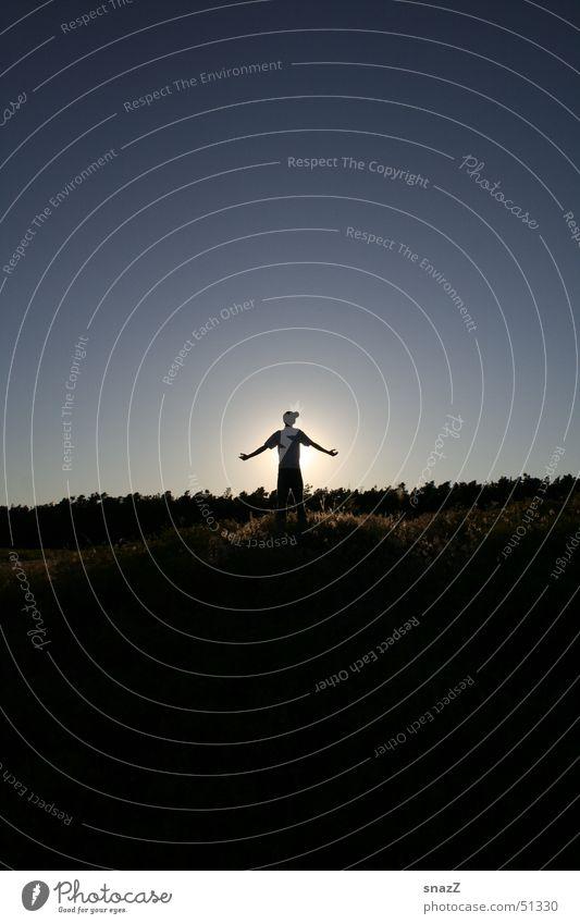 Loock up and be Free Himmel Mann blau schön Sonne ruhig schwarz Wald Freiheit Religion & Glaube Beleuchtung Kraft Rücken Arme Gott Götter