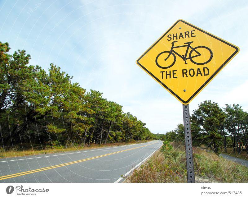 . Wald Straßenrand Verkehr Verkehrswege Personenverkehr Autofahren Fahrradfahren Wege & Pfade Verkehrszeichen Verkehrsschild Gastfreundschaft Solidarität
