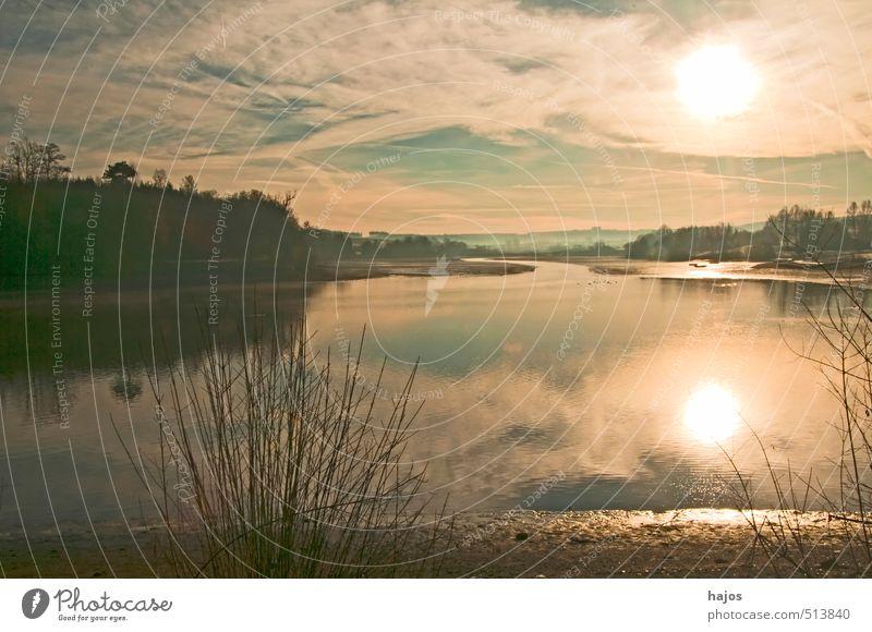 Sonnenaufgang am See Erholung ruhig Strand Natur Wasser Himmel Wolken Seeufer natürlich Wärme Stimmung Romantik schön Sehnsucht Frieden Gewässer Ufer