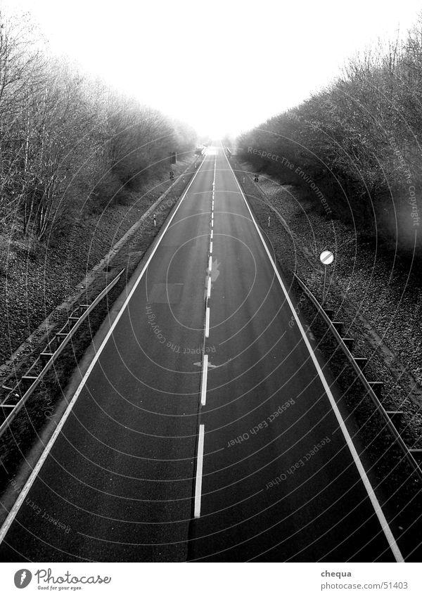 endlose straße weiß schwarz Straße Wege & Pfade Linie Verkehr Unendlichkeit Autobahn