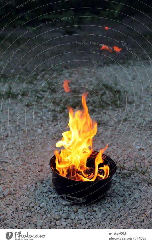 French Style XI Kunst ästhetisch Grillen Grillkohle Grillsaison Grillplatz Wildnis Camping Brand Flamme Feuerstelle Wärme Farbfoto Gedeckte Farben Außenaufnahme