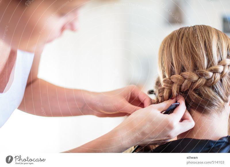 Hochzeit-Prinzessin-Frisur Mensch Junge Frau Jugendliche 2 18-30 Jahre Erwachsene Haare & Frisuren blond langhaarig Zopf ästhetisch schön feminin gelb gold weiß