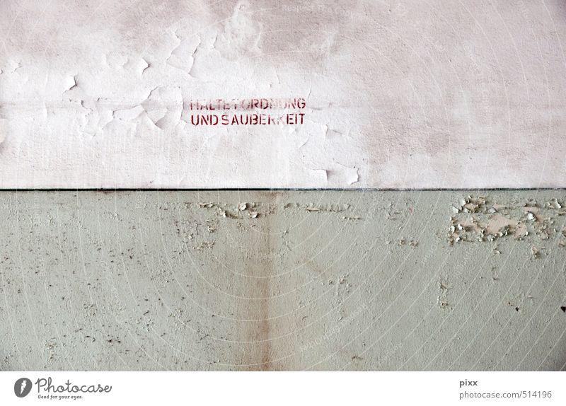 ut ruhrgebiet | wandinformation heimwerken Renovieren Erwachsenenbildung Arbeitsplatz Fabrik Industrie Feierabend Menschenleer Mauer Wand Stein Schriftzeichen