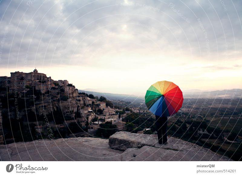 French Style XVII Kunst ästhetisch Zufriedenheit Regenschirm Schirm Fernweh Gordes Frankreich mehrfarbig Farbfleck Reisefotografie Ferien & Urlaub & Reisen