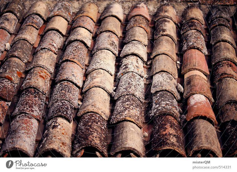 French Style VII Dorf ästhetisch Dach Dachziegel Dachschräge Muster Symmetrie Backstein ziegelrot Ziegeldach Ziegelbauweise Frankreich Fachwerkhaus Farbfoto