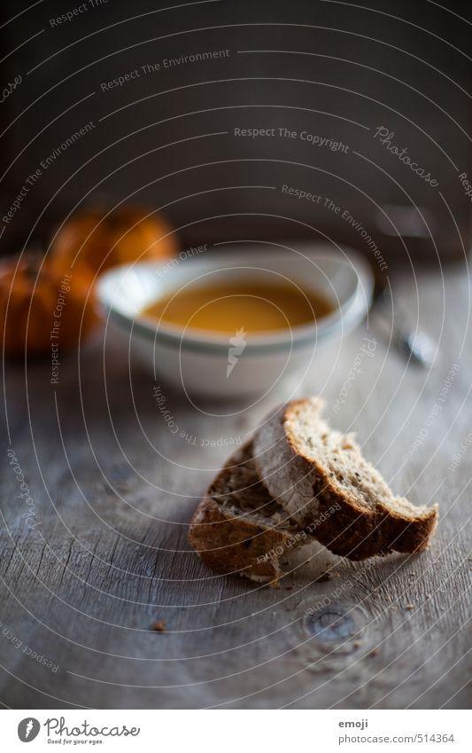 Abendbrot grau orange Ernährung Gemüse lecker Bioprodukte Brot Abendessen herbstlich Mittagessen Diät Vegetarische Ernährung Saison Suppe Slowfood Kürbiszeit