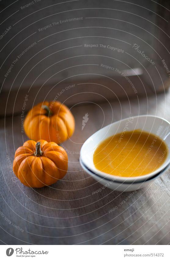 Kürbis Gemüse Suppe Eintopf Ernährung Mittagessen Abendessen Schalen & Schüsseln lecker orange Kürbissuppe Farbfoto Innenaufnahme Menschenleer Textfreiraum oben