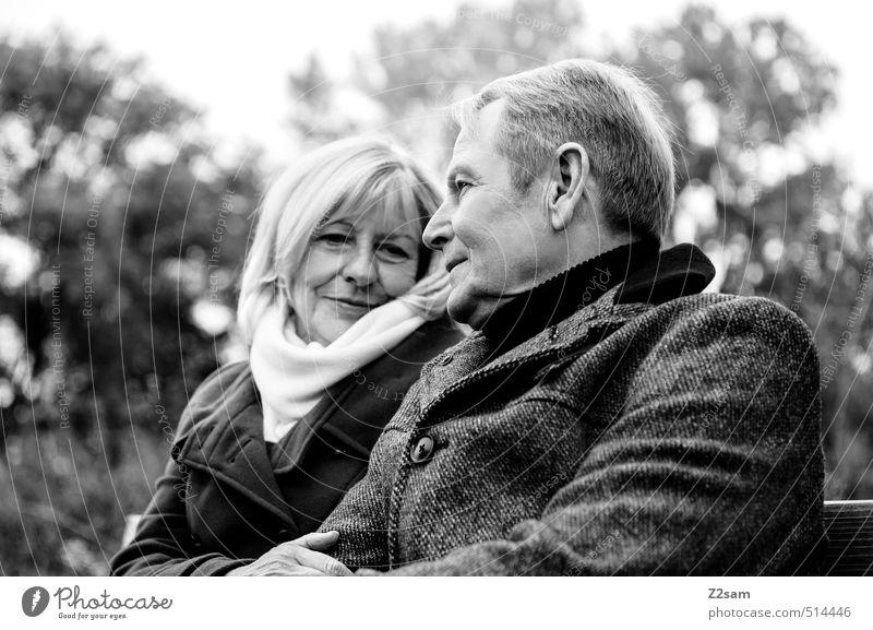 Rentnerpaar auf einer Bank Lifestyle Weiblicher Senior Frau Männlicher Senior Mann 2 Mensch 45-60 Jahre Erwachsene 60 und älter Herbst Baum Sträucher Pullover