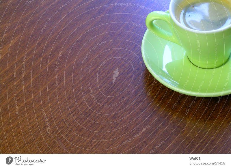 Café sans lait grün Holz braun Kaffee Pause Café Tasse Espresso Maserung Buche Untertasse