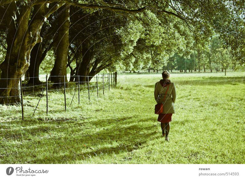 wandeln Mensch feminin Junge Frau Jugendliche Erwachsene 1 Umwelt Natur Landschaft Baum Park Wiese Wald schön Spaziergang Erholung grün Kleid Mantel Handtasche