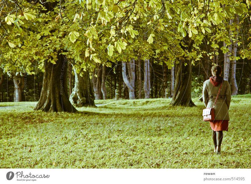 spazieren Mensch feminin Frau Erwachsene 1 gehen Blatt Blätterdach Baum Kleid Rock grün Gras Wiese Spaziergang Park Erholung Natur Luft Farbfoto Außenaufnahme