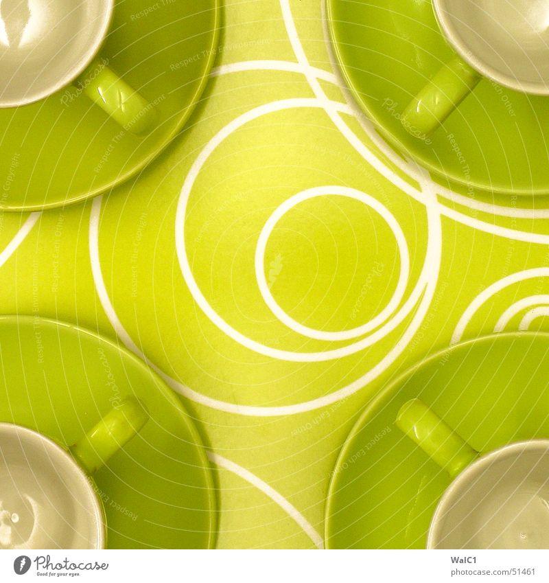 Ikea-Idea grün Kreis Pause Kaffee Café 4 Tasse Griff Keramik kredenzen Tablett Ziffern & Zahlen