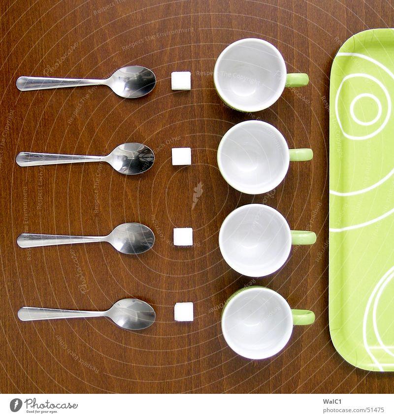 Für vier von mir. grün Holz Metall süß Kaffee Besteck Café Reihe Statue Tasse Zucker Würfel Löffel Buche Maserung Keramik