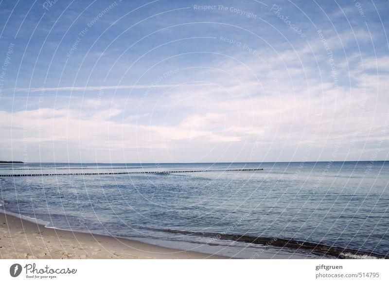 now what? Umwelt Natur Landschaft Urelemente Sand Wasser Himmel Horizont Sommer Schönes Wetter Wellen Küste Strand Ostsee blau Kraft ruhig Uferbefestigung Buhne