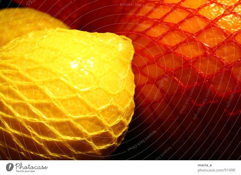 Zitrone und Orange rot gelb dunkel orange glänzend Netz