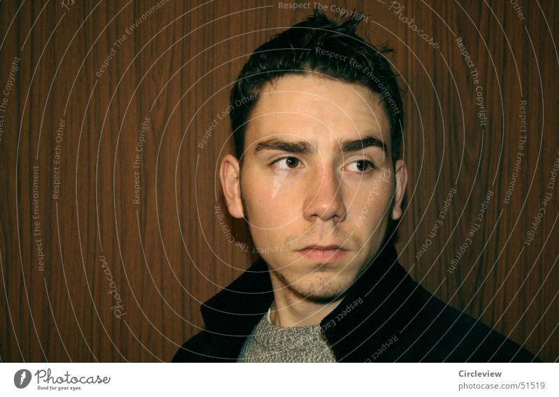 Und keine Ahnung an wen ich dachte Mann Kragen Porträt Gesicht Kopf Auge Nase Ohr Mensch Mund man face head eyes nose ears collar humans mouth