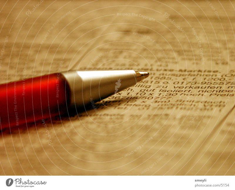 schreibkram Schreibstift Zeitung Arbeit & Erwerbstätigkeit Kugelschreiber Inserat inserieren Buchstaben Zeitschrift schreiben Schriftzeichen rot. zeitschrift