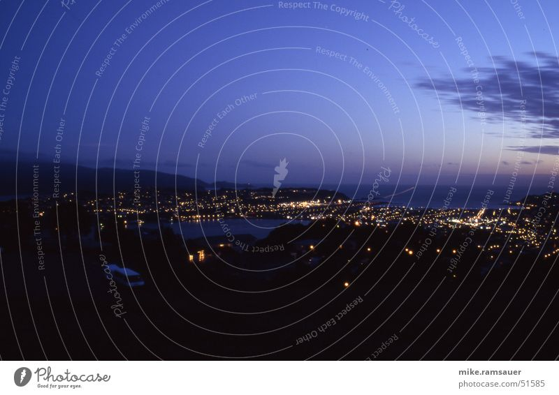 Wellington - Victoria View Himmel dunkel Hügel Flughafen Neuseeland