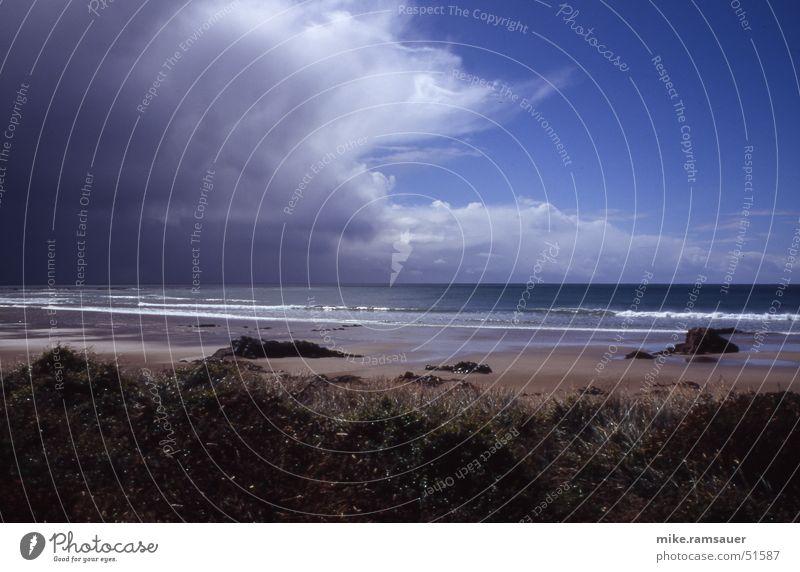 Ruhe vor dem Sturm Strand Wolken Sand Gewitter Neuseeland Kumulus Windböe