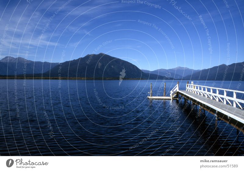 Deep Blue Something See Steg weiß Gebirgssee blau Neuseeland Panorama (Aussicht) Himmel Blick groß