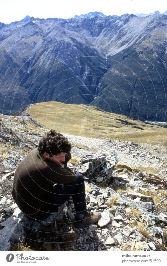 On top Erholung oben Berge u. Gebirge Denken wandern Pause Alpen Müdigkeit Bergsteigen fertig Klettern Erschöpfung Neuseeland transpirieren ruhen
